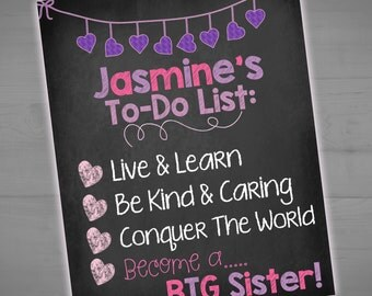 Big Sister To Do List - Pregnancy Announcement Chalkboard Sign - Pregnancy Reveal - To Do List Photo Prop - 8x10 - 16x20