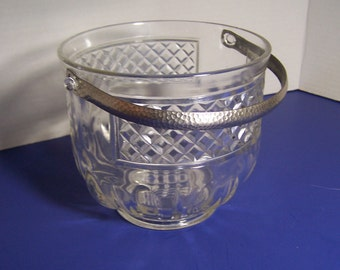 Vintage Clear Glass Ice Bucket with Metal Handle