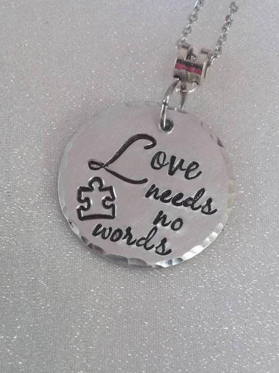 Autism Jewelry - Autism Necklace - Autism Awareness - Awareness Jewelry - Hand Stamped - Puzzle Piece - Mother's Love -One Of A Kind Jewelry