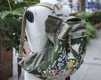 Upcycled Army Canvas Backpack Rucksack