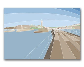 The Pier, Whitby - A popular view of Whitby Harbour from the pier - By lazenby Visuals - Limited edition mounted print.