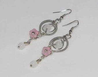 "Earrings ""Fairy dream""-silver plated with glass beads"