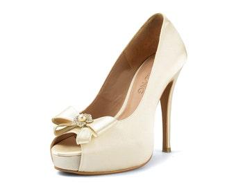 Mia Ribbon Ivory Wedding Heel, Satin Ivory Bow Bridal Heel, Satin Ivory Peep Toe Pumps, Off-white Wedding Shoe, White Wedding