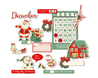 Printable Christmas scrapbook embellishments / vintage Santa, retro snowman, journaling tags / digital collage sheet / instant download