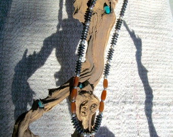 Carved Hematite Wolves Head Necklace
