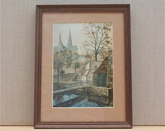 vintage french framed print Chartres cathedral and canal, architect Guy Nicot, french wall decor, Chartres in autumn