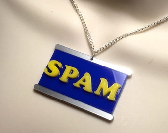 MONTY PYTHON inspired .. tin of SPAM laser cut acrylic necklace