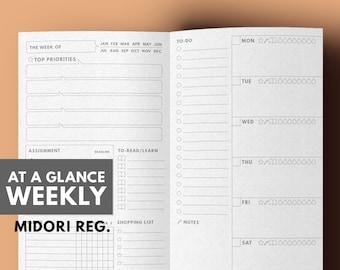 Travelers notebook Insert Printable | Weekly Planner | Printable TN
