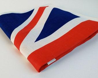 Vintage 70s Tea Towel, Union Jack, Linen, Made in Great Britain, Dish Towel, Souvenir Union Jack by Richard Douglas, Union Jack Decor