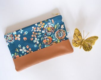 Blue Floral Clutch, Gift for Mom, Clutch Leather, Clutch Purse, Floral Leather Clutch, Blue Floral Clutch, Spring Zippered Clutch Bag
