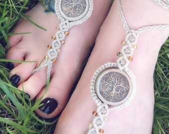 Barefoot Sandals, Soleless Sandals, Toe Thongs, Hemp Barefoot Sandals, Tree of Life Barefoot Sandals