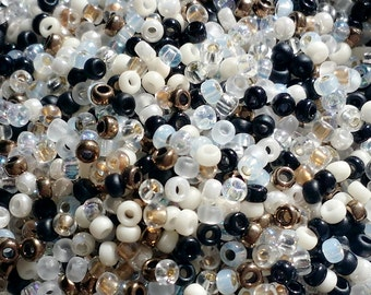 Miyuki 11/0 round seed bead mix- GRANITE - 10 grams beads in opaque, transparent, frosted, ICL - great for kumihimo, bead crochet