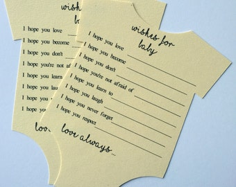 Wishes for baby, baby shower game, advice for new mom, baby shower, new parent advice, wishes for baby advice card, onesie cutout