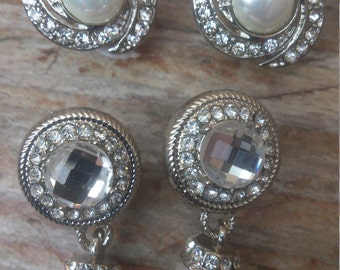 Two pairs of pearl and rhinestone earrings