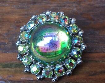 vintage blue/green rhinestone brooch