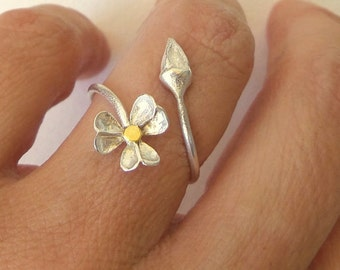 Silver Ring - flower ring - sterling silver ring - free shipping.