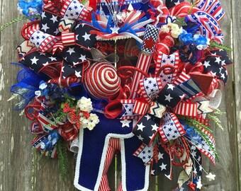 Patriotic Wreath, Uncle Sams Wreath, 4th Of July Wreath, Patriotic Decor