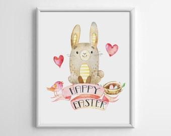 Happy Easter Printable, Nursery Wall Decor, Easter Decoration, Rabbit, Playroom Wall Art, Typography Printable, Nursery Decor, B046