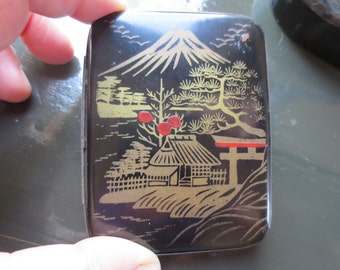 French Antique Lacquer Case - Lacquerware - French Vintage 1930s, Business Cards,Cigarette- Japanese Lacquer