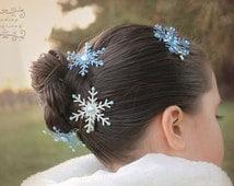 Snowflake hair bow set of 4: snowflake hair clip, hair accessories , winter wedding hair accessories, holiday wedding clips,frozen hair clip