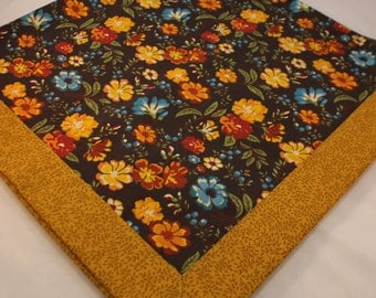 Table Topper, Tablecloth -- Brown, Tan, Choclate, Blue, Gold Floral -- Table Runner