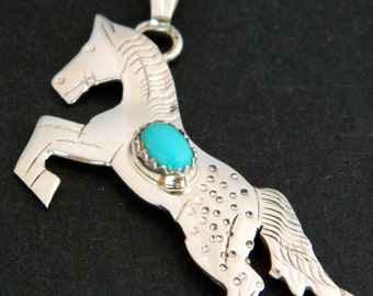 Native American Navajo Sterling Turquoise Rearing Appaloosa Horse Pendant Signed Louise Yazzie