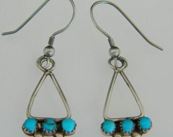 Native American Navajo Turquoise Sterling Silver Handmade Vintage Earrings
