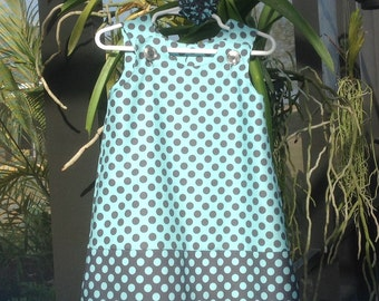 Blue and Grey Polka Dot Dress (baby, infant, girl, child, toddler) jumper or sundress  -  with matching hair accessory.