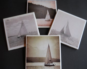 Sailboats ~ Vintage Sailboats ~ Sailing ~ Ceramic Tile Coasters ~ Nautical Coasters ~ Housewarming Gift ~ Beach Decor ~ Lake House Decor