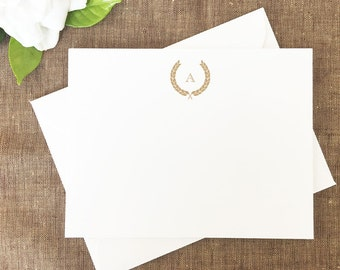 Monogram Wreath, Thank You Notes, Classic Wreath Monogram Initial Personalized Stationery, Personalized Note Cards, Set of 25 Cards