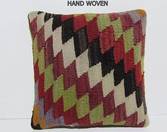 decorative pillow accent throw pillow knitting pillow case handmade pillow cover kilim pillowcase throw pillow red green kilim pillow D727