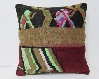 20x20 bohemian rug boho outdoor pillow floor throw decorative pillow case sofa ethnic pillow cover Turkish decor accent cushion kilim 27238