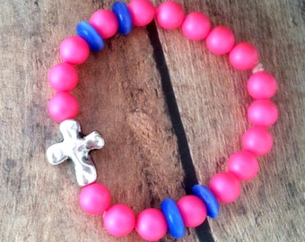 Kids Bracelet, Childrens Jewelry, Kids Jewelry, Cross Bracelet, Cross Jewelry, Pink Bracelet, Pink and Purple Bracelet, Silver Cross Charm