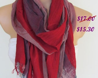 Red and Claret Scarf - Striped Pattern Shawl Scarf-New Season-Necklace-Cowl- Neck warmer- Infinity Scarf-Mother's Day Gift
