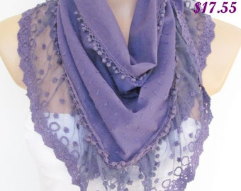 Purple Scarf with lace -Triangle Shawl Scarf-Winter Fashion-Necklace-Lariat-Pashmina Scarf- Neckwarmer- Infinity Scarf