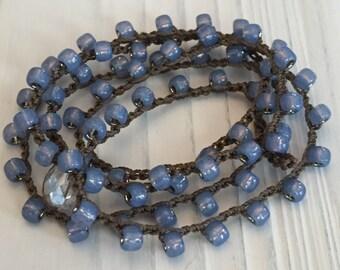 Montana Blue Bohemian Style Crochet Necklace or Wrap Bracelet