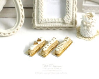 Elegance Cream White Gold Love. Dot. Stripe themed Eclairs -THREE Assorted Eclairs- 1/12 Dollhouse Miniature Scale