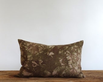 Hand screen printed and hand dyed linen pillow shells brown