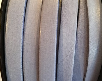 "SALE: 8"" 10mm Flat Italian Dolce Vivid Lilac Grey 10mm Flat Leather Cord finding, jewelry supplies strap"