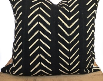 Mudcloth Pillow Cover Printed Faded Black Mudcloth Print