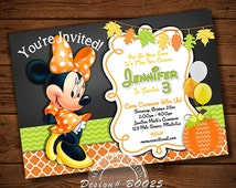 Mickey Mouse HALLOWEEN INVITATION, Halloween Card, Chalkboard, Mickey Mouse, My Celebration Shoppe, Halloween, Orange and Black Chevron