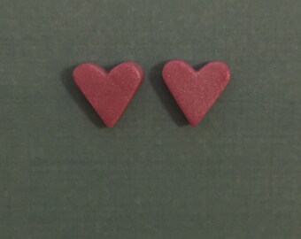 Tiny Shimmery Pink Heart Shaped Stud Earrings