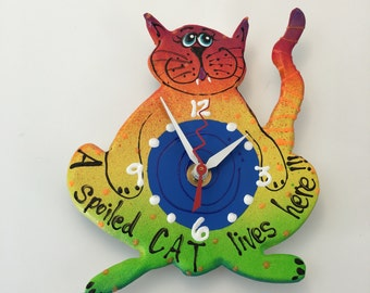 KIDS Clock, Cat Clock,   Clock, Nursery Clock, Cat Wall Clock,, Unique Clock