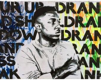 "Pour Up 11""x17"" print - Kendrick Lamar Street Art; kdot, hiphop, hip-hop artist, compton, rapper, , spray paint, pop stencil art by Mowgli"