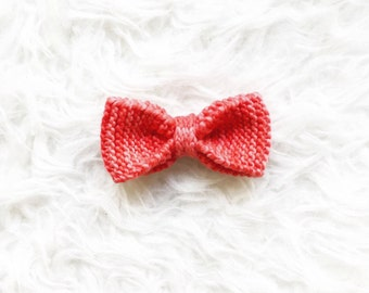 Red Knit Bowtie, Handknit Merino Wool Bowtie, OnanaKnits Bright Red Knitted Bowtie, Men's Knitted Bow tie, Wedding Bow ties, Groom Bowtie