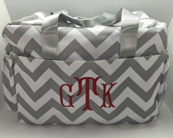 Personalized Diaper Bag, baby boy or girl, monogrammed boy diaper bag, grey gray chevron