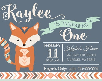 Fox Invitation, Fox Birthday Invitation, Fall Invitation, Fox Party, Woodland Invitation, Camping Invitation, DIY Invitation, 5x7 or 4x6,