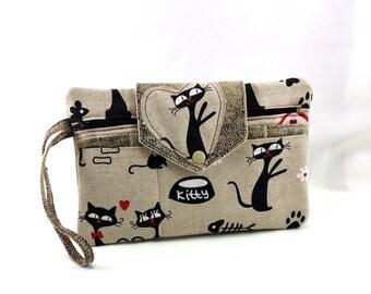 Black cats bag kit, wallet, purse, card holder (or smartphone case)