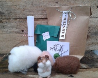 Hamster diy kit, needle felt kit, all you need, toutorial