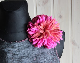 Felted flower, woolen accessory,felted peony brooch,wool peony pin